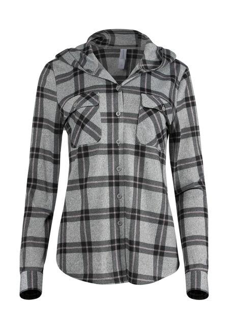 Women's Hooded Knit Plaid Shirt