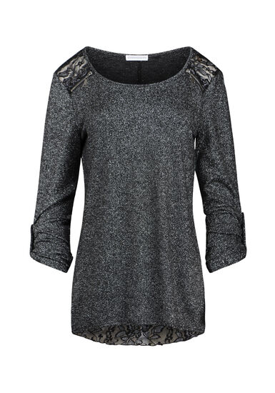 Women's Lace Insert Shimmer Top, BLACK, hi-res
