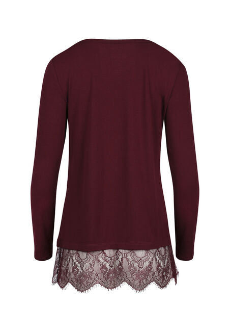 Ladies' Lace Hem Tee, WINE, hi-res