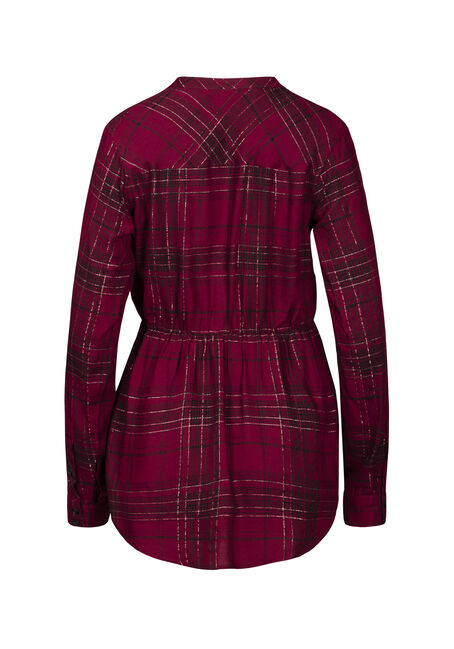 Women's Shimmer Plaid Tunic Shirt, BURGUNDY, hi-res