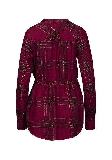 Women's Shimmer Plaid Tunic Shirt, BURGUNDY, hi-res
