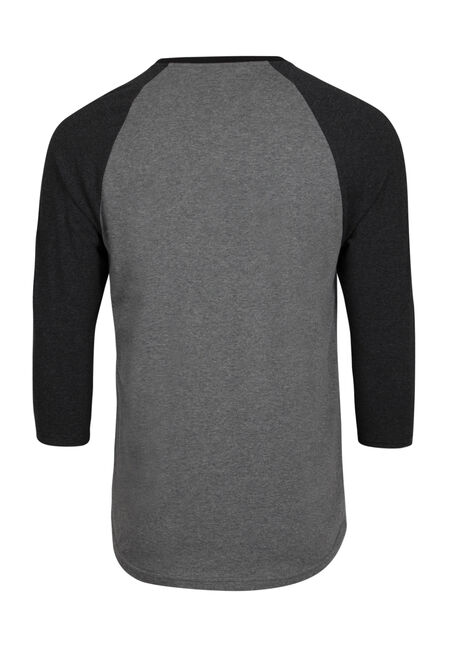 Men's Everyday Henley Baseball Tee, CHARCOAL, hi-res
