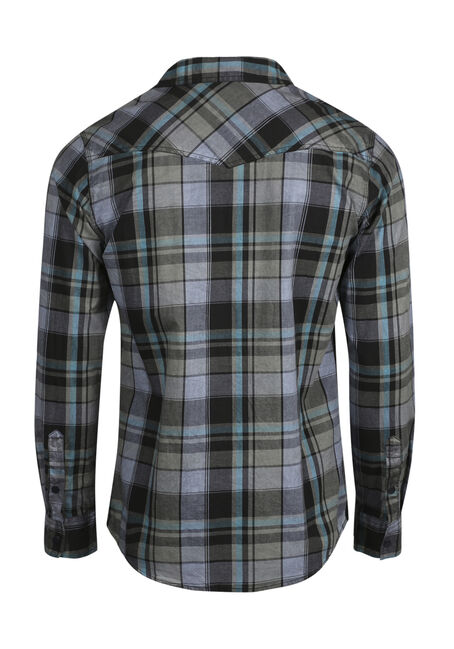 Men's Washed Plaid Shirt, SLATE, hi-res