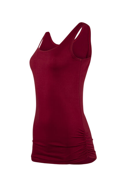 Women's Super Soft Ruched Side Tank, TRUE RED, hi-res