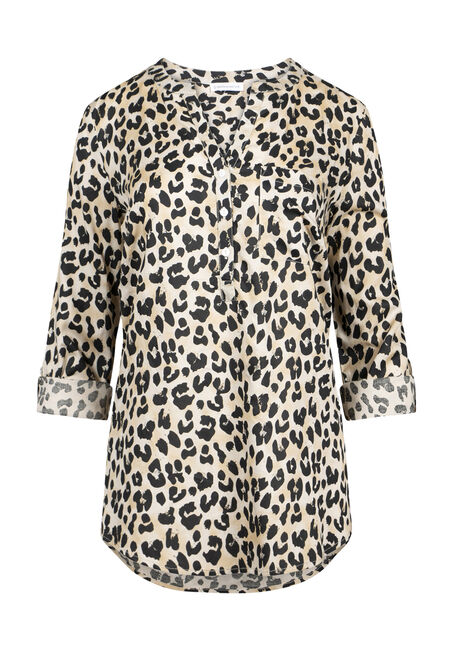 Women's Leopard Print Roll Sleeve Shirt