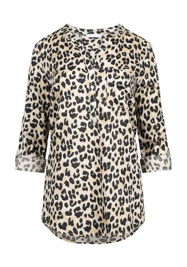 Women's Leopard Print Roll Sleeve Shirt, TAN, hi-res