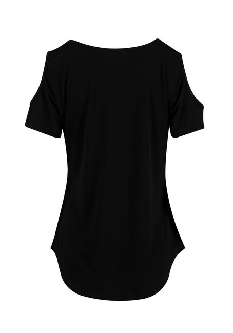 Ladies' Mama Bear Cold Shoulder Tee, BLACK, hi-res