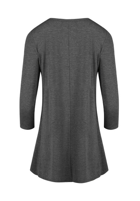 Ladies' Cage Neck Tunic Tee, CHARCOAL, hi-res