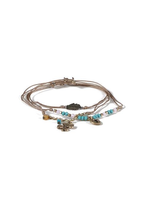 Women's Trio Charm Bracelet Set, GOLD, hi-res