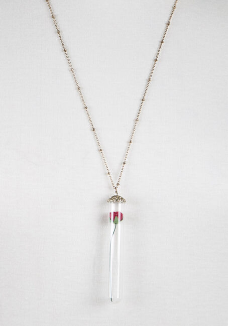 Ladies' Rose in Vial Necklace, GOLD, hi-res