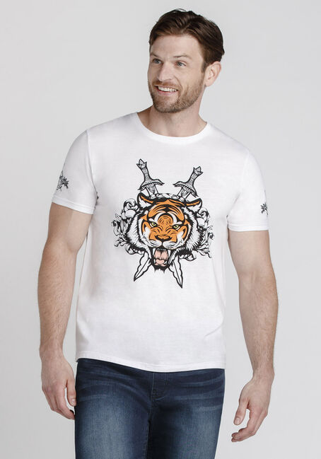 Men's Tiger Graphic Tee, WHITE, hi-res