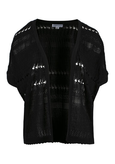 Women's Dolman Pointelle Cardigan, BLACK, hi-res