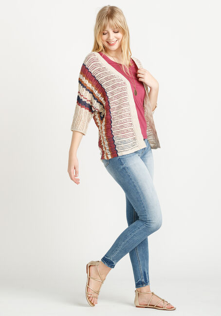 Women's Striped Open Cardigan, MULTI, hi-res