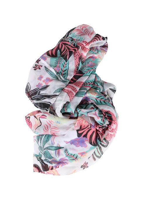 Women's Leaf Print Infinity Scarf, MULTI, hi-res