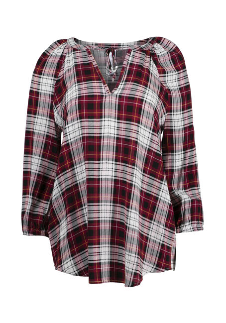 Women's Plaid Peasant Top