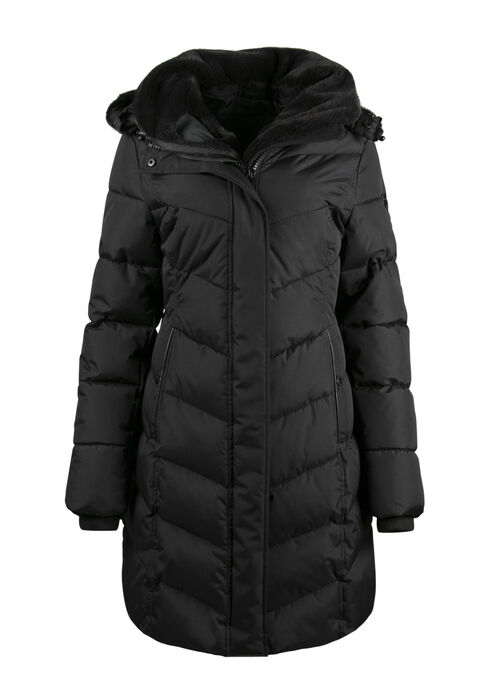 Ladies' Fur Trim Quilted Parka, BLACK, hi-res