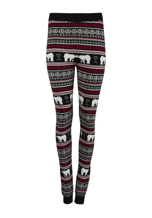 Ladies' Polar Bear Sweater Legging, BLK/WHT, hi-res