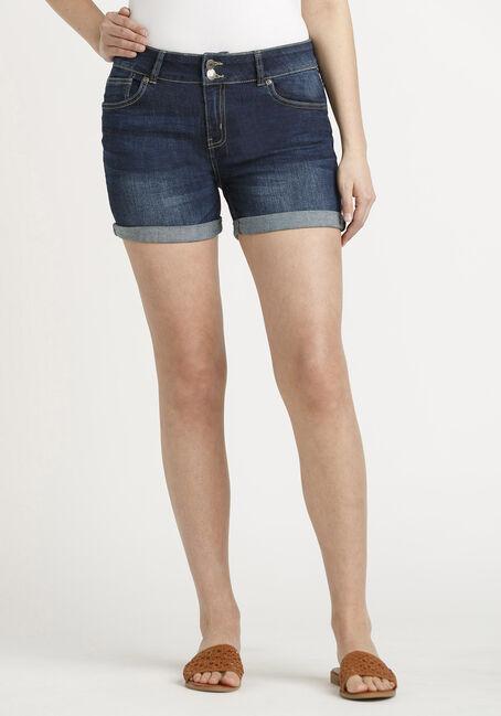 Women's 2 Button Cuffed Dark Midi Jean Short
