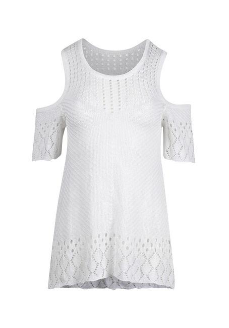Women's Cold Shoulder Pointelle Sweater