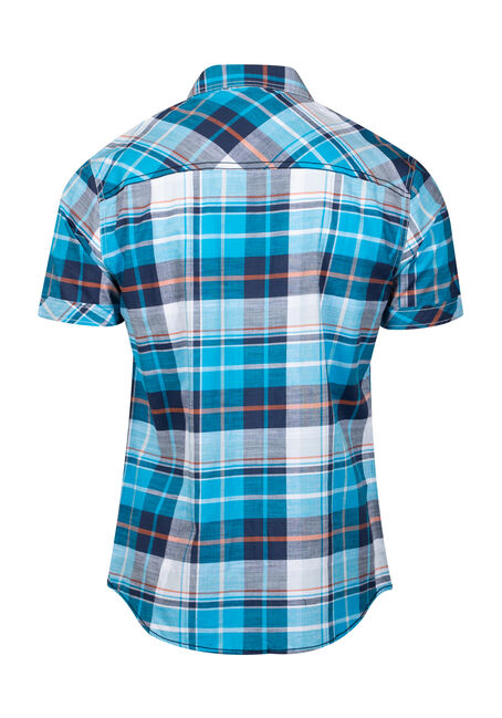 Men's Plaid Shirt, TURQUOISE, hi-res