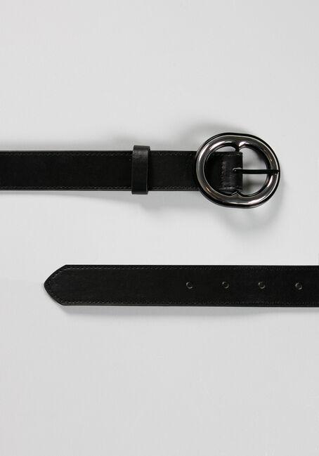 Women's Oval Buckle Belt, BLACK, hi-res