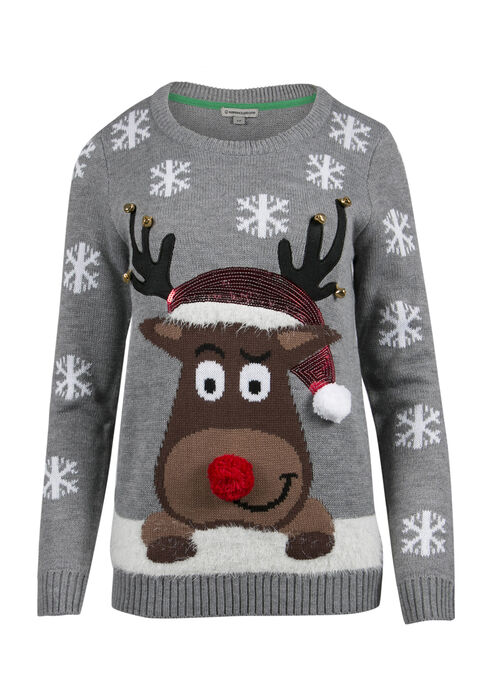 Ladies' Reindeer Sweater, GREY, hi-res