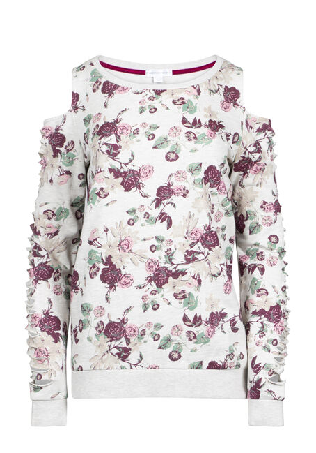 Women's Floral Shredded Sleeve Fleece