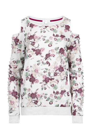 Women's Floral Shredded Sleeve Fleece, OATMEAL, hi-res