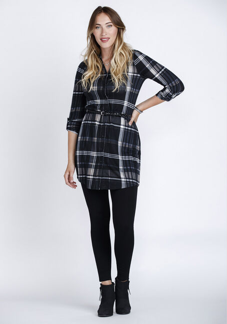 Women's Plaid Shirt Dress, BLACK, hi-res