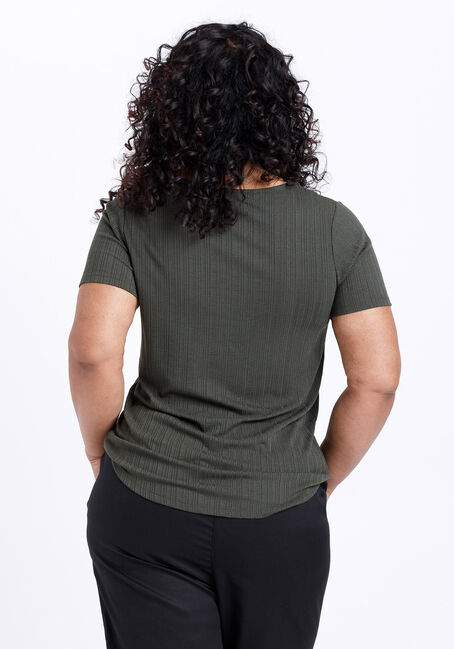 Women's Lace Up Ribbed Tee, OLIVE NIGHT, hi-res