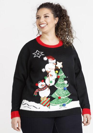 Women's Light Up Sweater, BLACK, hi-res