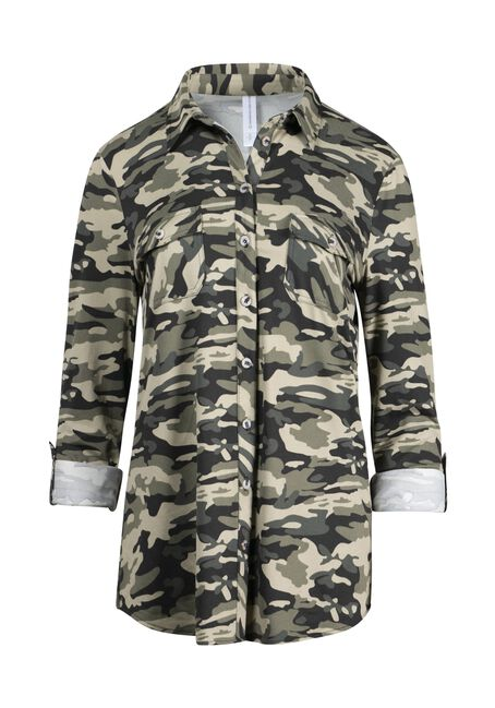 Women's Camo Knit Button Front Shirt, OLIVE, hi-res
