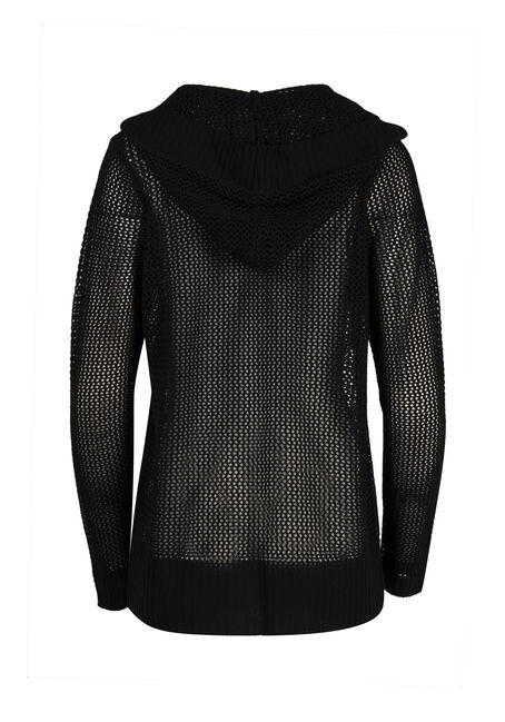 Ladies' Hooded Mesh Cardigan, BLACK, hi-res