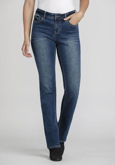 Women's Mid-Wash High Rise Straight Jeans, MEDIUM WASH, hi-res