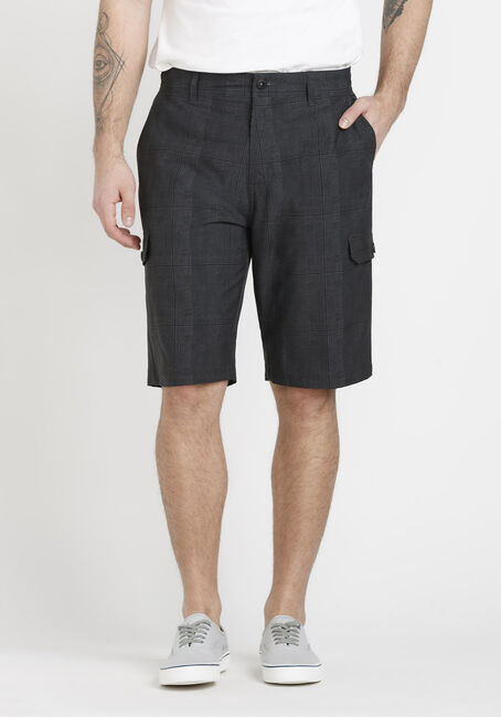 Men's Black Plaid Cargo Hybrid Shorts