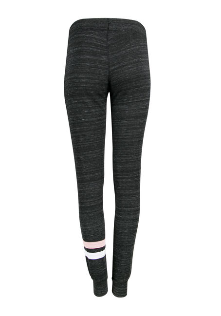 Ladies' Stripe Accent Jogger, MARLED BLACK, hi-res