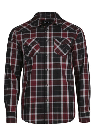 Men's Relaxed Plaid Shirt, BRICK, hi-res