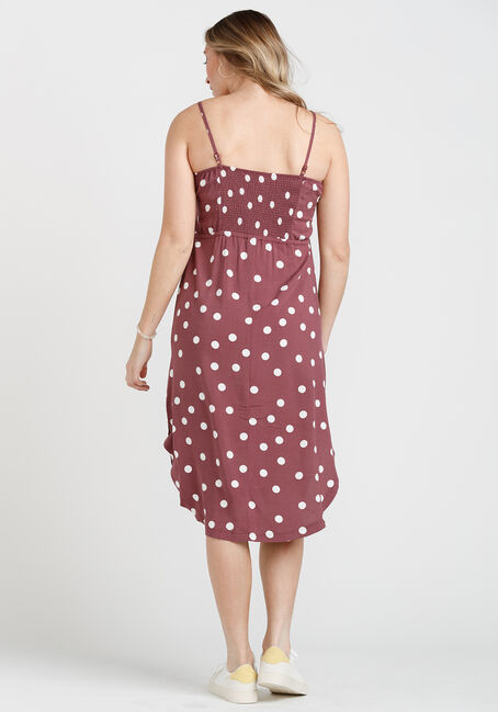 Women's Midi Dress, DARK MAUVE, hi-res