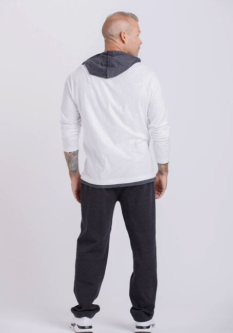 Men's Everyday Colour Contrast Hooded Tee, WHITE, hi-res