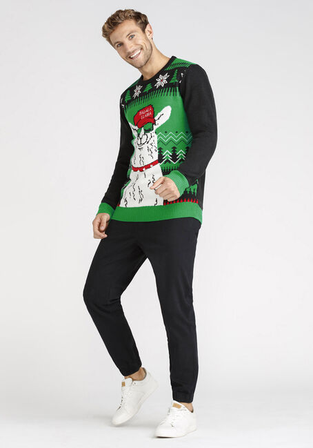 Men's Musical Jolly Llama Sweater, GREEN, hi-res