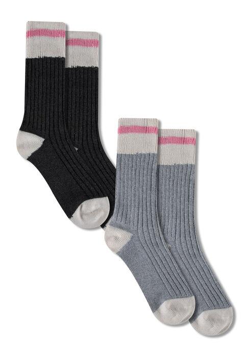 Ladies' 2 Pair Cabin Socks, PINK, hi-res
