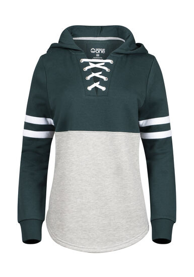 Women's Lace Up Football Hoodie, FOREST GREEN, hi-res