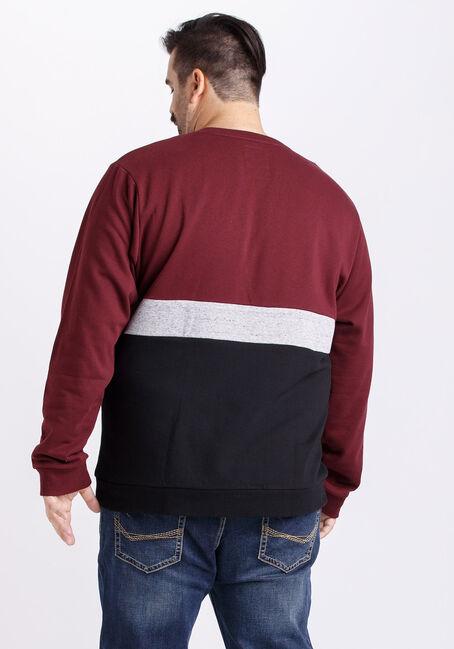 Men's Colour Block Crew Neck Fleece, TRUE WINE, hi-res