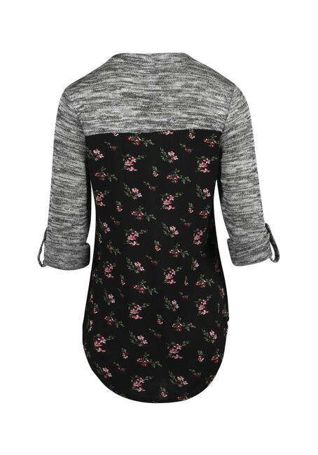 Women's Floral Roll Sleeve Shirt, BLACK, hi-res
