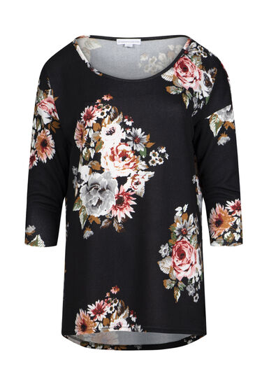 Women's Floral Dolman Tunic Top, BLACK, hi-res