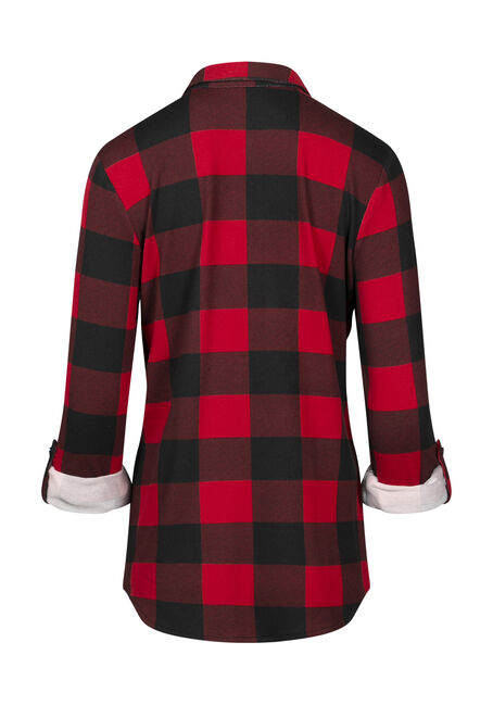 Women's Buffalo Plaid Knit Shirt, RED/BLACK, hi-res