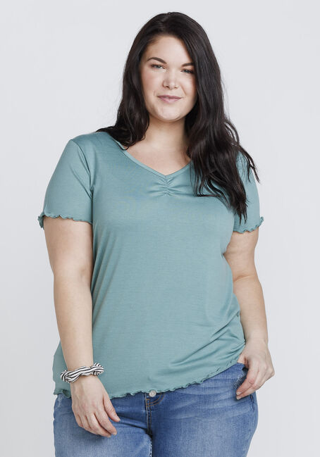 Women's Ruffled Hem Tee, SAGE, hi-res