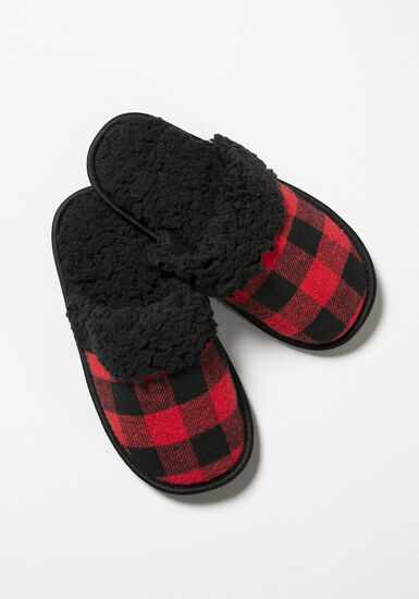 Women's Plaid Slippers, RED, hi-res