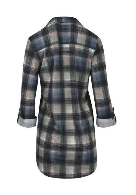 Ladies' Knit Plaid Tunic Shirt, TEAL, hi-res
