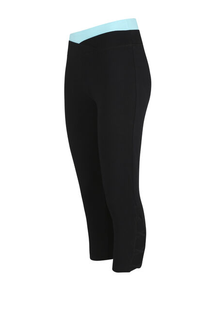 Women's Contrast Capri Legging, BLACK, hi-res